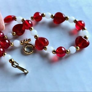 Vtg Heart Glass Bead Necklace